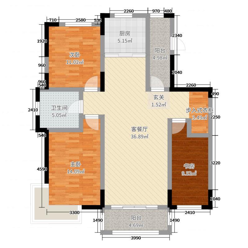 嘉惠第五园121.00㎡户型3室3厅1卫1厨