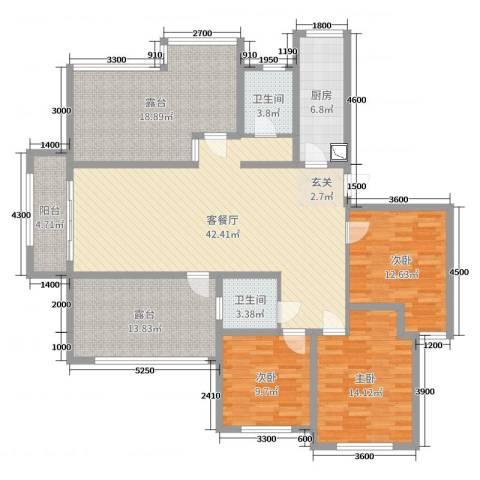 泉山逸品3室2厅2卫1厨132.00㎡户型图
