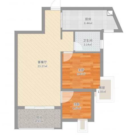 九仰梧桐公寓2室2厅1卫1厨64.00㎡户型图