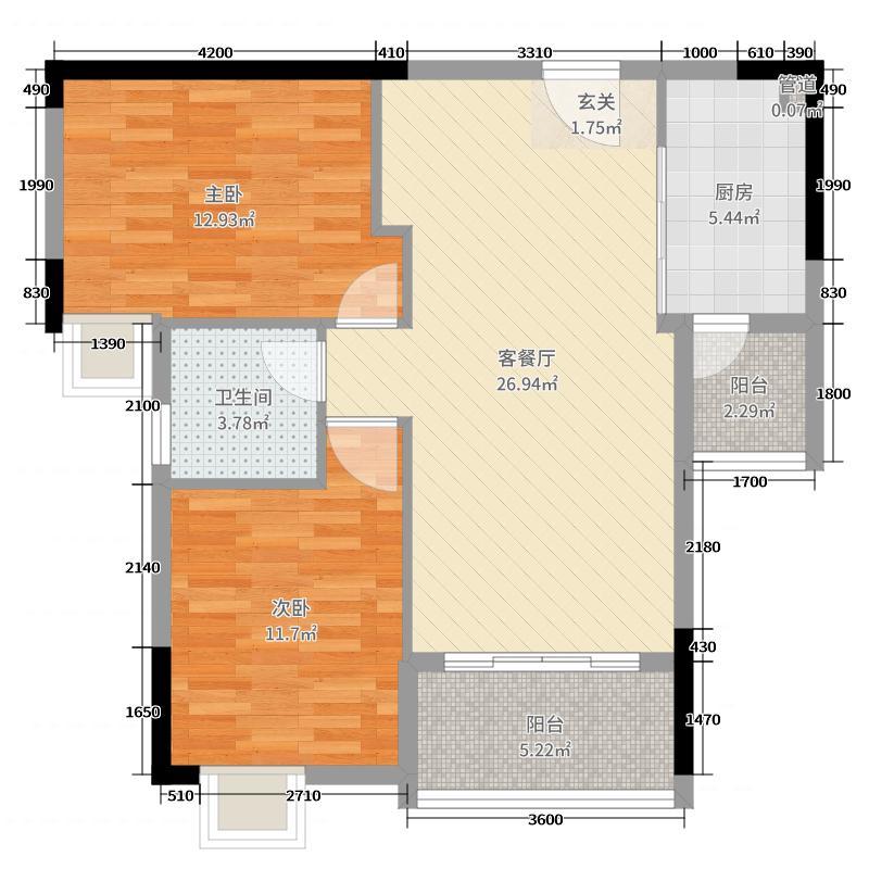 广物锦绣东方89.00㎡27栋01、02户型2室2厅2卫1厨
