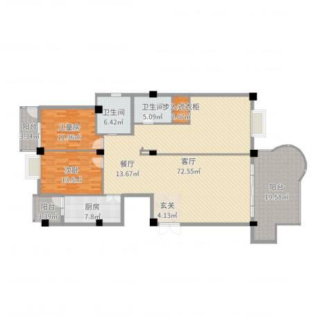 龙汇花园2室1厅2卫1厨182.00㎡户型图
