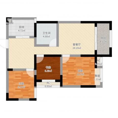 绿都温莎城堡3室2厅1卫1厨82.00㎡户型图