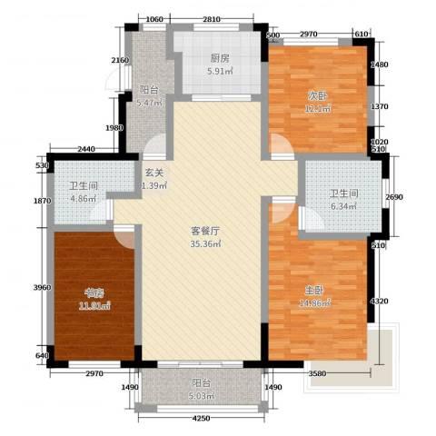 嘉惠第五园3室2厅2卫1厨132.00㎡户型图