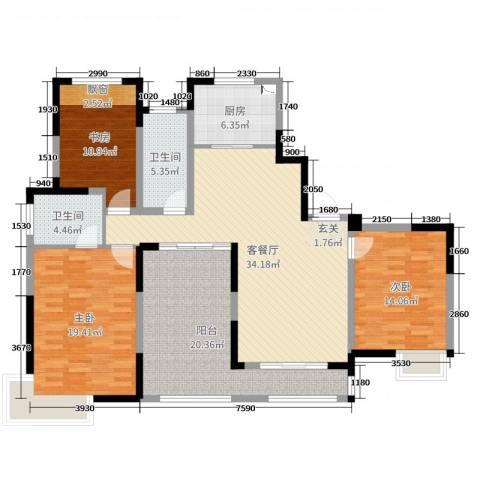 小天鹅品园3室2厅2卫1厨144.00㎡户型图