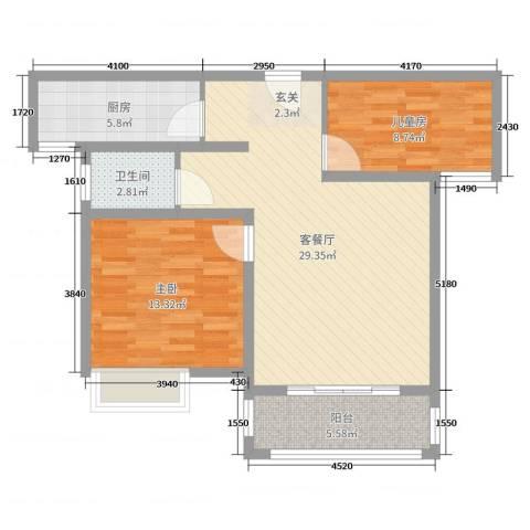 尚都国际2室2厅1卫1厨82.00㎡户型图