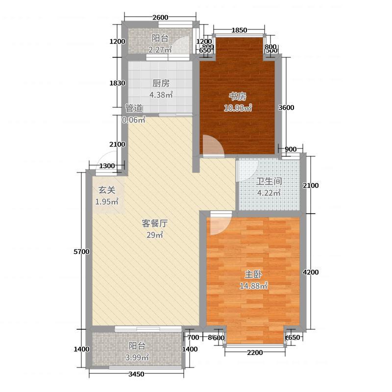 卓达香水海二期北欧小镇88.44㎡户型2室2厅1卫1厨