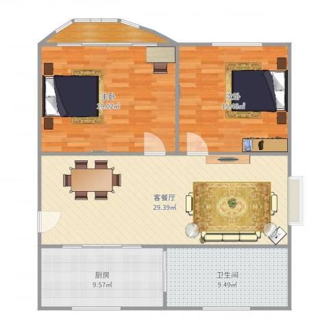 加盟圣蓝苑2室2厅1卫1厨107.00㎡户型图