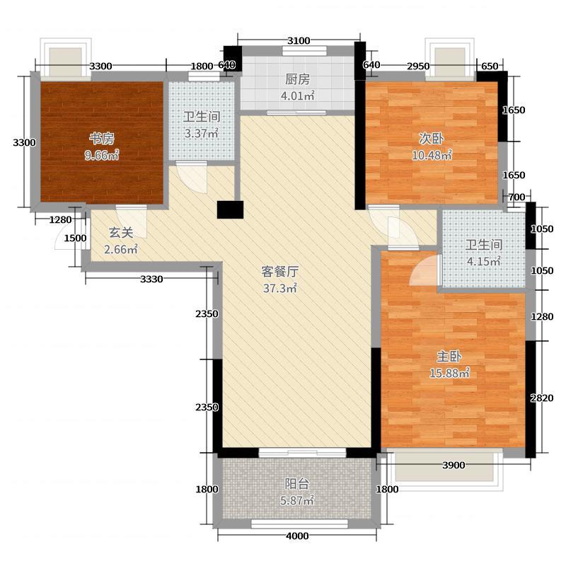 东方今典中央城126.00㎡b地块1#2号楼e-03户型3室3厅2卫1厨