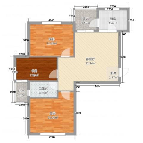 阳光丽景二期3室2厅1卫1厨85.00㎡户型图