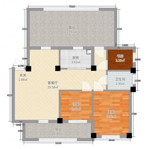 弘生世纪城3室2厅1卫1厨97.00㎡户型图