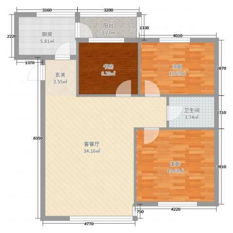 阳光丽景二期3室2厅1卫1厨101.00㎡户型图