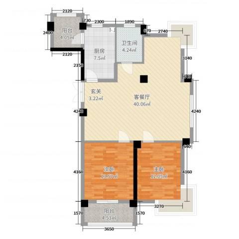 弘生世纪城2室2厅1卫1厨108.00㎡户型图