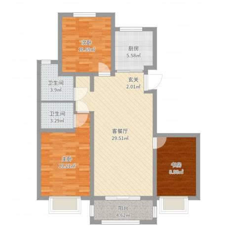 恒祥龙泽城3室2厅2卫1厨100.00㎡户型图
