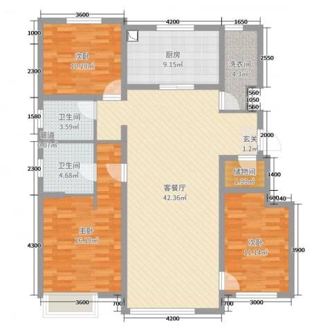 万科惠斯勒小镇3室2厅2卫1厨130.00㎡户型图