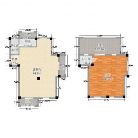 弘生世纪城1室2厅2卫1厨183.00㎡户型图