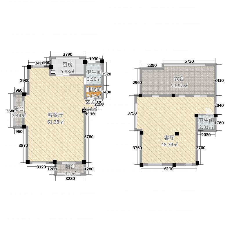 弘生世纪城192.00㎡北区9幢503户型5室5厅2卫1厨
