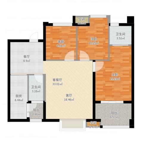 万向西界莎拉3室2厅2卫1厨113.00㎡户型图
