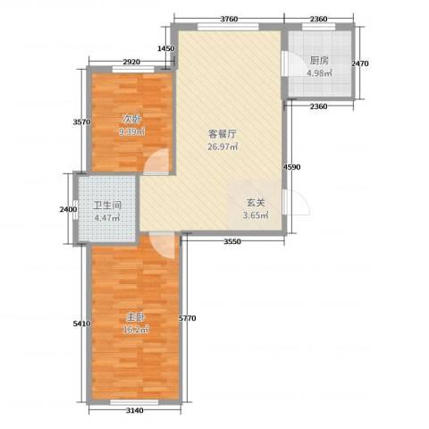 金湾山城2室2厅1卫1厨78.00㎡户型图