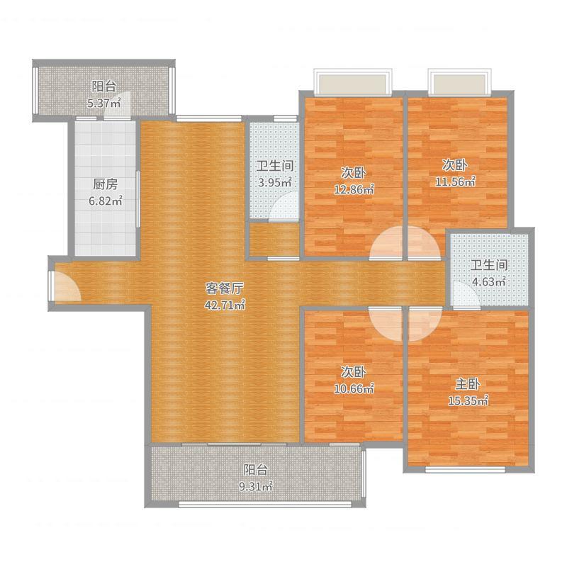 润达B户140㎡四房两厅两卫--中欧式