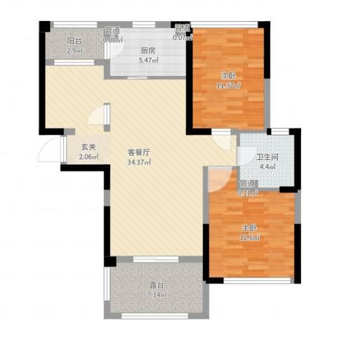 荆门碧桂园三期2室2厅1卫1厨98.00㎡户型图