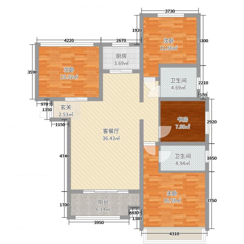 金海太阳公园119.80㎡4#K反三居户型3室3厅2卫1厨