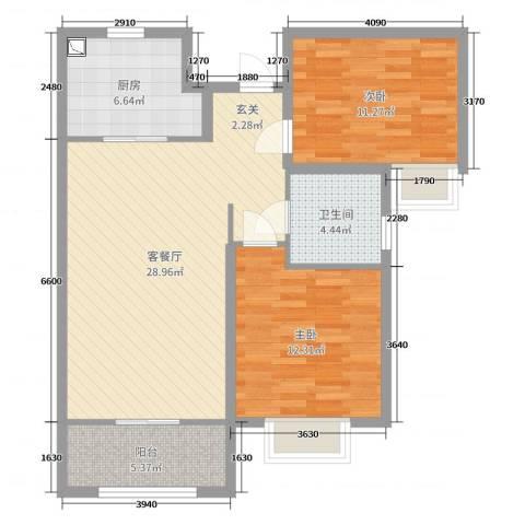 名士豪庭2室2厅1卫1厨87.00㎡户型图