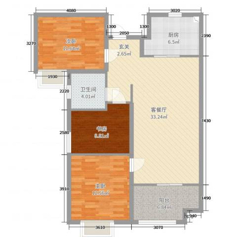 名士豪庭3室2厅1卫1厨105.00㎡户型图