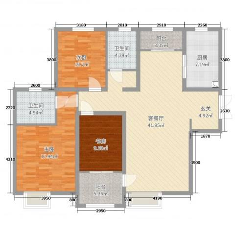 名士豪庭3室2厅2卫1厨131.00㎡户型图