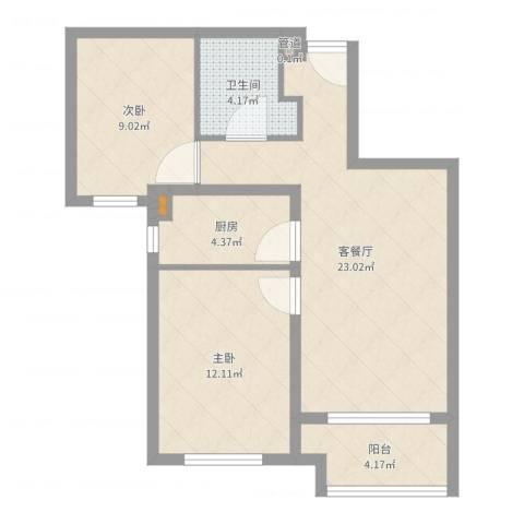潮白河孔雀城・温莎郡2室2厅2卫1厨84.00㎡户型图