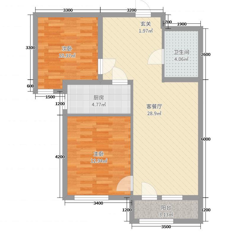 绿宸万华城86.00㎡B两居户型2室2厅1卫1厨