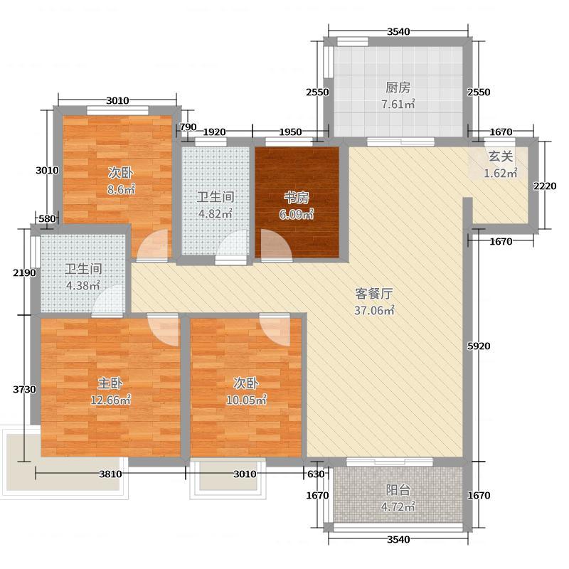 富力桃园120.00㎡A'户型4室4厅2卫1厨