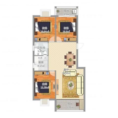 荷花家园3室1厅1卫1厨107.00㎡户型图