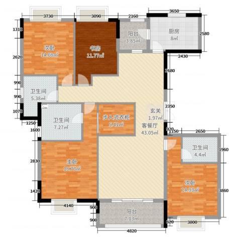 嘉里云荷廷4室2厅3卫1厨180.00㎡户型图