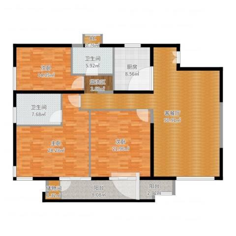 保利金泉3室2厅3卫1厨146.24㎡户型图