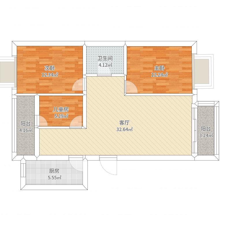 泰华滨河苑小区2-2-303-112平米-新中式
