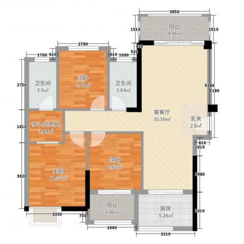中骏蓝湾悦庭3室2厅2卫1厨100.00㎡户型图