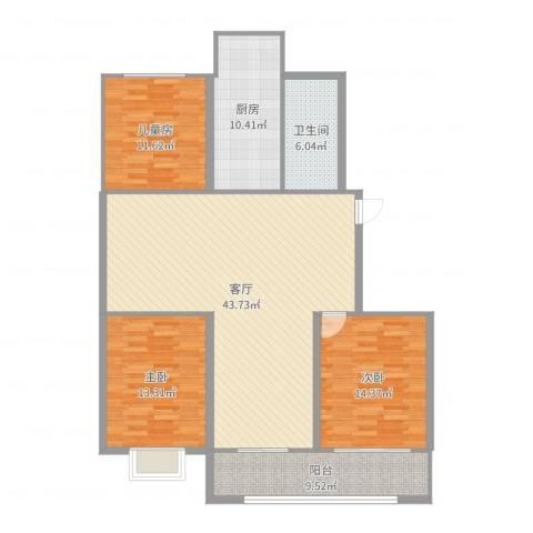 星富花园3室1厅1卫1厨136.00㎡户型图