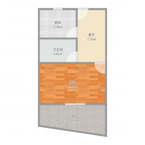 海州路105弄小区1室1厅1卫1厨50.00㎡户型图