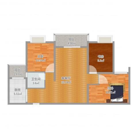 天瑞国际3室2厅1卫1厨105.00㎡户型图