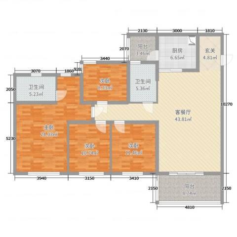 祈福聚龙堡4室2厅2卫1厨161.00㎡户型图