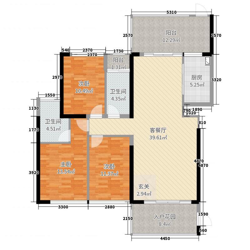 帝�Z苑139.00㎡A户型3室3厅2卫1厨