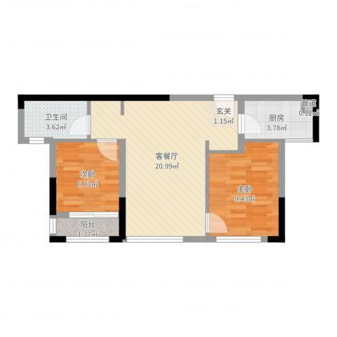 万科金域华府二期2室2厅1卫1厨46.44㎡户型图