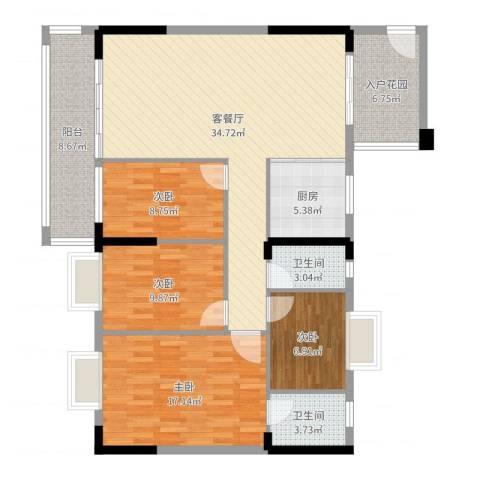 聚龙湖畔4室2厅2卫1厨131.00㎡户型图