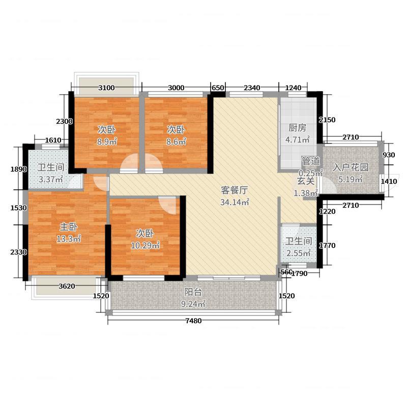 日盛山湖城128.00㎡5号栋1户型3室3厅2卫1厨