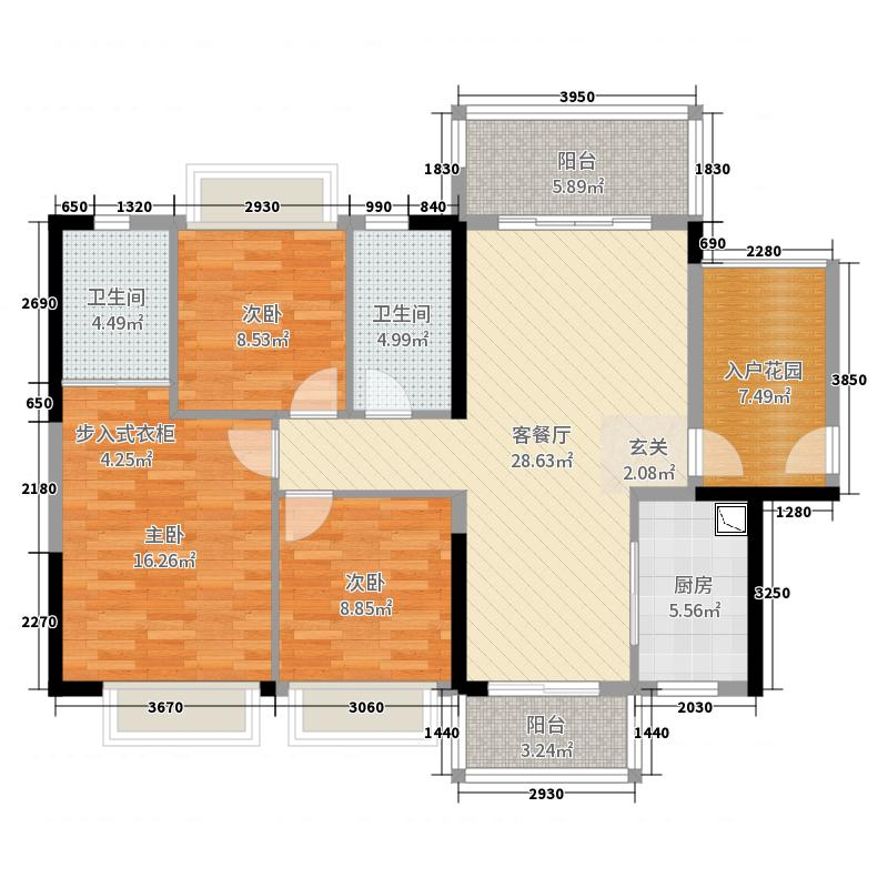 越秀可逸豪苑117.00㎡22幢01户型3室3厅2卫1厨