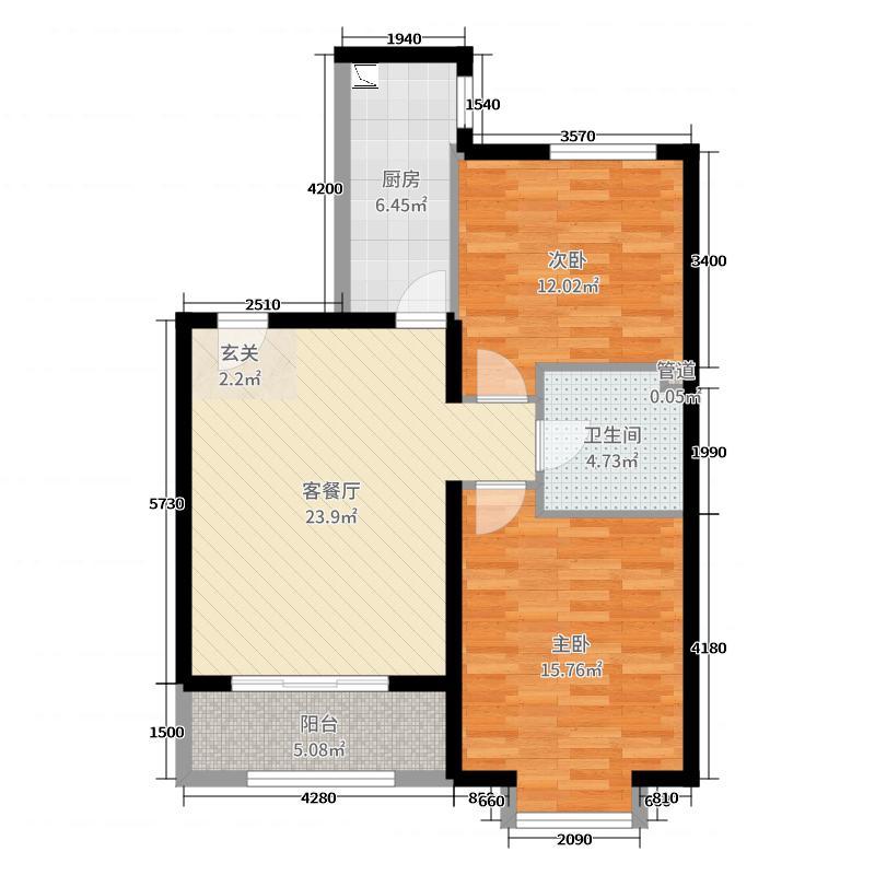 京汉・君庭85.00㎡10#16#17#两居户型2室2厅1卫1厨