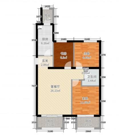 京汉・君庭3室2厅1卫1厨72.00㎡户型图