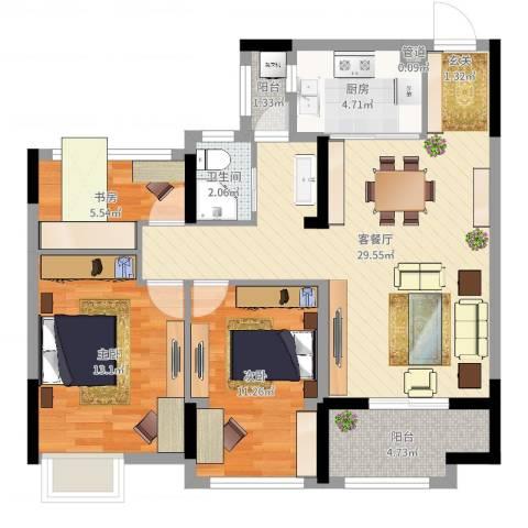 开投置业公元世家3室2厅1卫1厨90.00㎡户型图