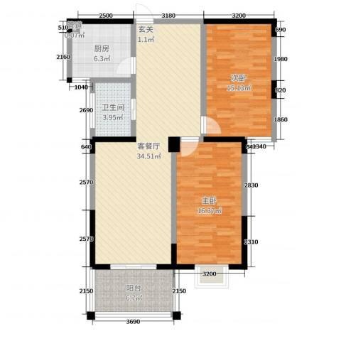东城E-house2室2厅1卫1厨104.00㎡户型图