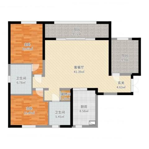 万科紫台2室2厅2卫1厨138.00㎡户型图